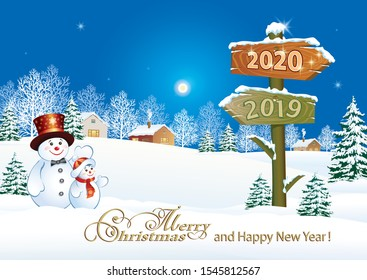 2020 Happy New Year greeting card with funny snowmen on winter landscape with billboard with the dates 2019 and 2020. Vector illustration