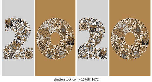 2020 Happy New Year greeting card design. Vector winter holiday illustration with  2020 numbers Christmas illustration with motifs from the Nutcracker ballet. Silver and gold colors.