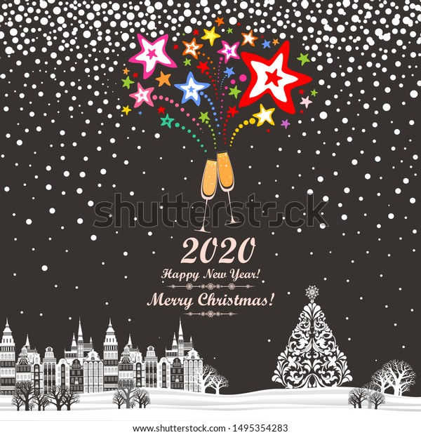 Tree-Free Greetings - Christmas 2020 2020 Happy New Year Greeting Card Stock Vector (Royalty Free