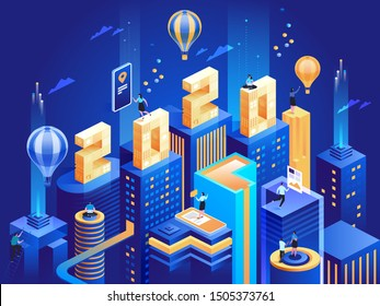 2020 Happy New Year. New innovative ideas. Digital technologies. Isometric technology for new year holiday posters and banners. Vector illustration with trendy geometric elements and people.
