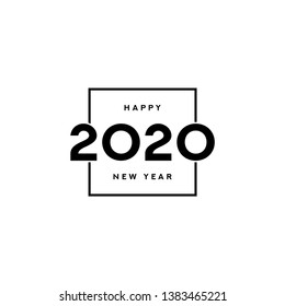 2020 happy new year logo design. Vector illustration with black holiday label isolated on white background.