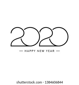 2020 happy new year logo design. Vector illustration with black holiday sign isolated on white background.