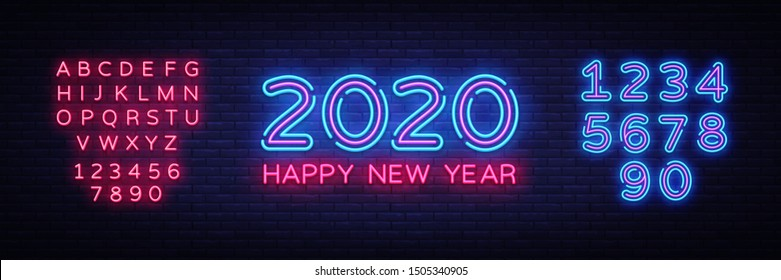 2020 Happy New Year Neon Text. 2020 New Year Design template for Seasonal Flyers and Greetings Card or Christmas themed invitations. Light Banner. Vector Illustration. Editing text neon sign