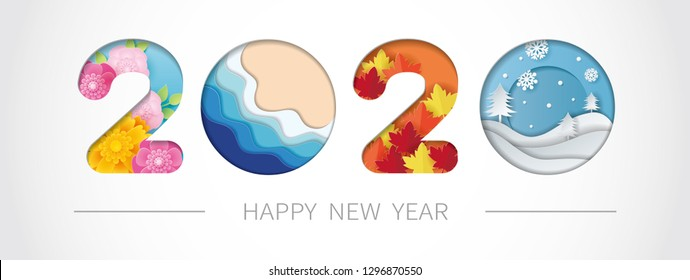 2020 happy new year paper art with spring, summer, autumn and winter. Vector illustration.
