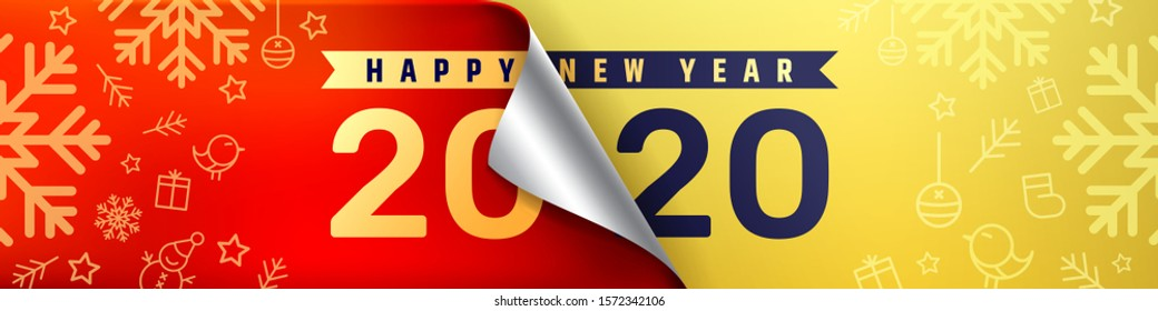 2020 Happy New Year Promotion Poster or banner.Change or open to new year 2020 concept.Promotion and shopping template for New Year.Vector EPS10