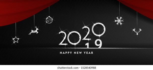 2020 Happy new year. silver Design of greeting card. silver Shining Pattern. Happy New Year Banner with 2020 Numbers on Bright Background. Vector illustration