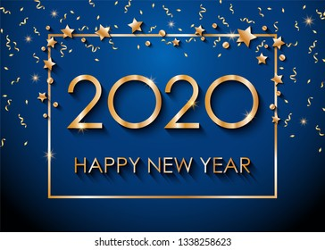 2020 Happy New Year text for greeting card, with gold glitter stars and confetti, calendar, invitation. Vector illustration.