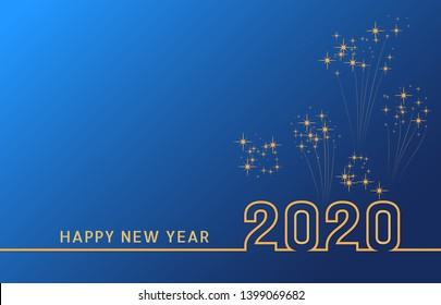 2020 Happy New Year text design with golden numbers on blue background with fireworks. Holiday banner, poster, greeting card or invitation template. Year of the rat. Copy space. Vector illustration