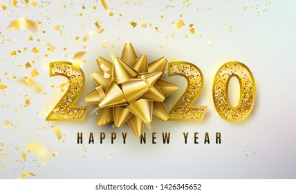 2020 Happy New Year vector background with golden gift bow, confetti, shiny glitter gold numbers. Christmas celebrate design. Festive premium concept template for holiday.