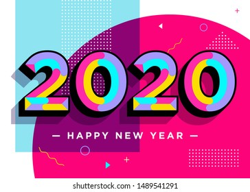2020 Happy New Year Vector Card. Textured Numbers. Trendy Typography with Geometric Hipster Pattern in Memphis Style. Creative 2020 Logo Design. Colorful Xmas Background. Festive Christmas Banner.