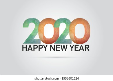 2020 Happy New Year Vector Green and Orange Water Color paint stroke with border long frame. Dirty artistic design element, on Grey background-Vector
