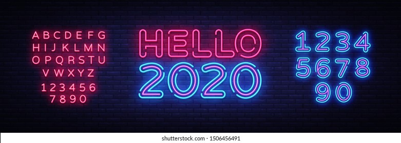 2020 Hello Neon sign Vector. Happy New Year neon poster, design template, modern trend design, night signboard, night bright advertising, light banner, light art. Vector. Editing text neon sign
