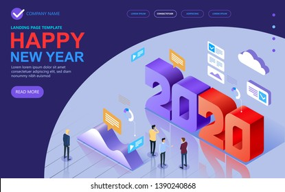 2020 Isometric a Happy New Year greetings. Jubilee or birthday logotype. Vector modern minimalist Happy new year Isometric card for 2020 Year. Multi colored Isometric illustration. Vector.