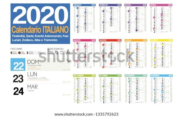 Calendario Lunare 2020 2020.2020 Italian Calendar Italian Holidays Zodiac Stock Vector