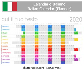 2020 Italian Planner Calendar with Horizontal Months on white background