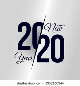 2020 Logo Happy New Year. Set Of Celebration Text Graphics. Cover Of Business Diary For With Wishes. Brochure Design Template, Poster, Card, Banner. Vector Illustration. Isolated On White Background.