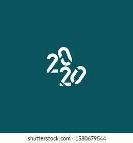 2020 logo with its truncated shape and square shape makes this design unique, modern, masculine.