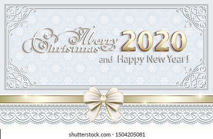 2020 Merry Christmas background with ribbon, bow on a background of snowflakes in a frame with an ornament. Vector illustration