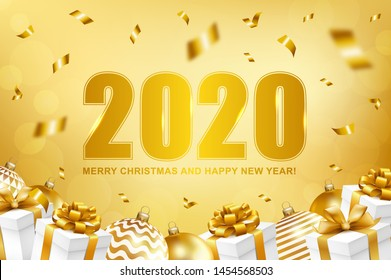 2020 Merry Christmas and Happy New Year card with gifts, balls and confetti. Vector illustration.