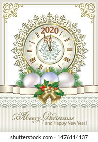 2020 Merry Christmas and Happy New Year. Greeting card with clock on background of snowflakes and Christmas decoration. Vector illustration