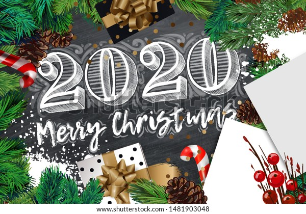 Christmas List 2020.2020 Merry Christmas Happy New Year Stock Vector Royalty