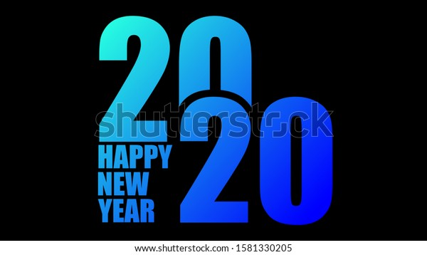 2020 Monochrome Logo Creative -  2020 Modern Design With Gradient Blue Colorful - 2020 Happy New Year Wallpaper
