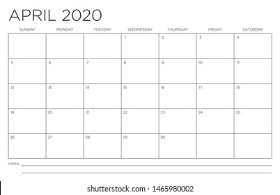 2020 Month of April Calendar Fits 11x17 Inch