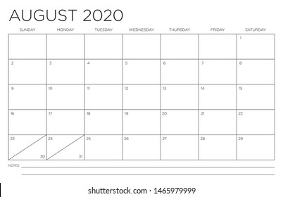 2020 Month of August Calendar Fits 11x17 Inch