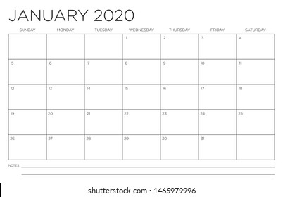 2020 Month of January Calendar Fits 11x17 Inch