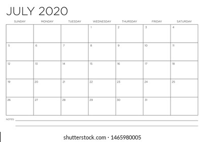 2020 Month of July Calendar Fits 11x17 Inch