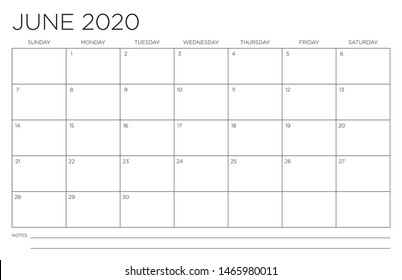 2020 Month of June Calendar Fits 11x17 Inch