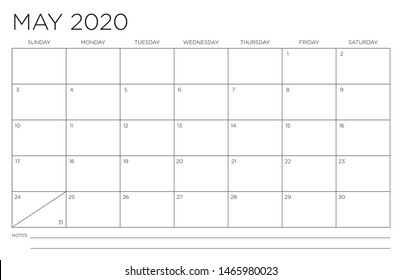2020 Month of May Calendar Fits 11x17 Inch