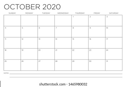 2020 Month of October Calendar Fits 11x17 Inch