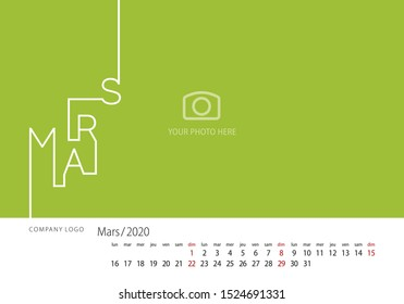 2020 New Desk Calendar French language March line design template green background