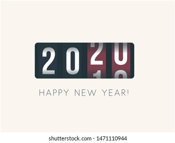 2020 New Year. Analog counter display, retro style design. Vector illustration.
