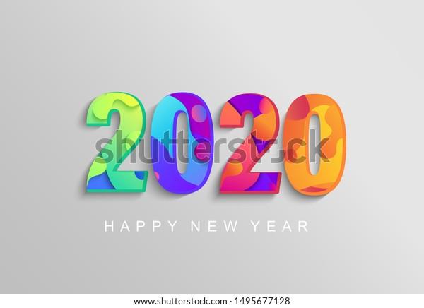 2020 New Year Bannerlogocoloured Emblem Your Stock Vector (Royalty