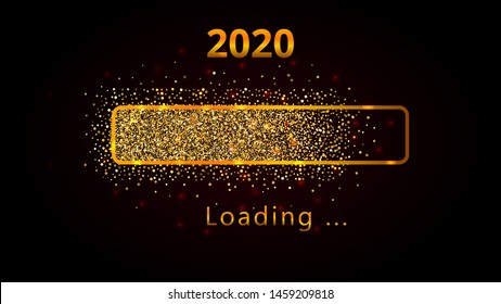 2020 New Year with bright shiny loading progress bar, golden glitter and sparkles. Template design for holiday web banner, poster, wallpaper, carnival, greeting card or invitation, end of year.