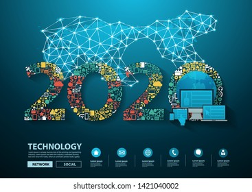 2020 new year business innovation technology set application icons digital marketing ideas concept, Vector illustration modern design layout template