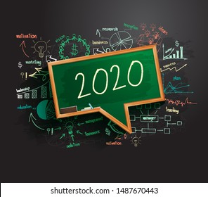 2020 new year business success strategy plan idea on speech bubbles blackboard, Creative thinking drawing charts and graphs, Inspiration concept modern template layout, diagram, Vector illustration