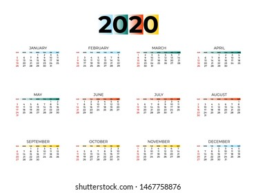 2020 new year calendar page color blue, green, orange, yellow gradient colorful diary desktop. Week Start Sunday. Business day and month planner template. Vector mock up illustration