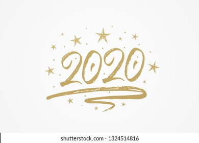 2020 new year card, banner. Beautiful greeting poster with calligraphy gold text word ribbon star. Hand drawn design elements. Handwritten modern brush lettering isolated backgroundvector