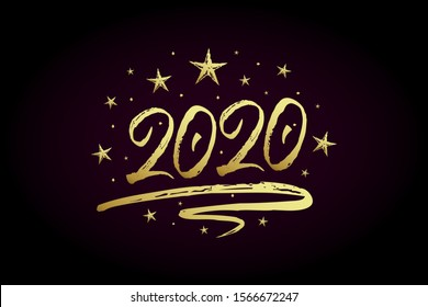 2020 new year card, banner. Beautiful greeting poster with calligraphy gold text word ribbon star. Hand drawn design elements. Handwritten modern brush lettering on black background isolated vector
