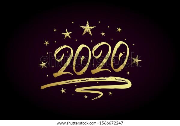 carte de voeux nouvel an 2020 Image vectorielle de stock de carte de voeux de Nouvel An 1566672247