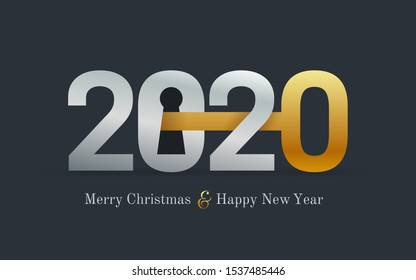2020 new year card for real estate company. Happy new year 2020 concept with key and door lock. Realty. Vector illustration. Isolated on black background.
