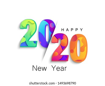 2020 New Year colour banner, logo for your seasonal holidays flyers, greetings and invitations, christmas themed congratulations and cards.Template for brochures, business diaries.Vector illustration.
