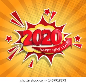 2020 New Year Comic Boom card in retro pop art style on sunburst background.Christmas comic text speech bubble.Halftone vector banner, greetings card, flyers, invitation, posters, brochure, calendars.
