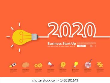 2020 new year with creative light bulb idea  design, Inspiration start up business plan, marketing strategy, teamwork, brainstorm concept, Vector illustration modern design layout template