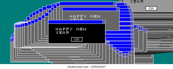 2020 New Year data corruption glitch art modern trendy style design for Christmas holiday poster, greeting card, invitation, banner or placard. Window error. Vector illustration