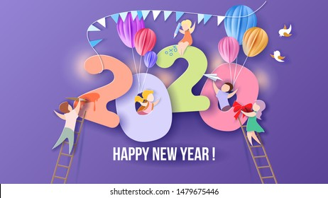 2020 New Year design card with kids on purple background. Vector illustration. Paper cut and craft style.