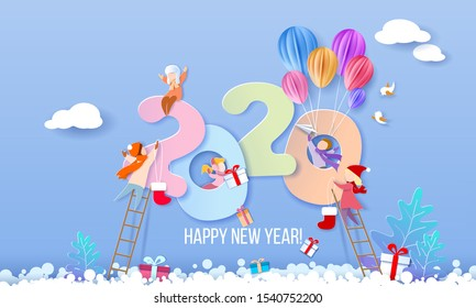 2020 New Year design card with kids on blue winter background. Vector illustration. Paper cut art and craft style.